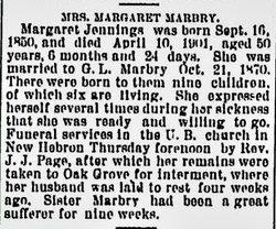 Margaret Elizabeth <I>Jennings</I> Marbry