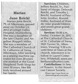 Marian June <I>Miller</I> Reichl