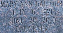 Mary Ann <I>Sanders</I> Balfour