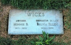 "Winfred Isabella ""Minnie"" <I>Bliss</I> Wicks"