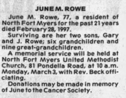 June Marie <I>Roberts</I> Rowe