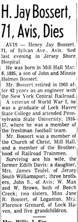 Henry Jay Bossert 1895 1966 Find A Grave Memorial Local news and information from the lock haven express. find a grave