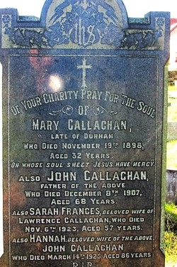 Hannah Callaghan (Unknown--1925) - Find A Grave Memorial