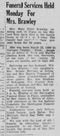 Mary Ethel <I>Keck</I> Brawley