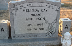 "Melinda ""Linda"" <I>Milam</I> Anderson"
