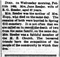 Jane <I>Hutton</I> Reeder