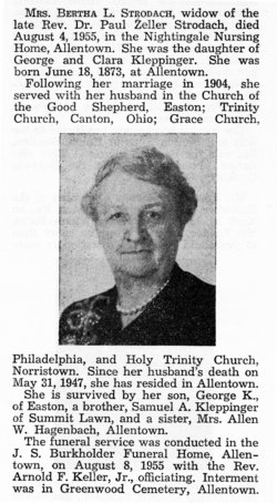 Bertha L. <I>Kleppinger</I> Strodach