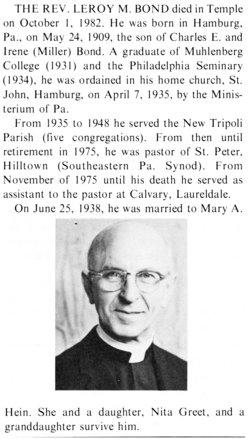 Rev LeRoy M Bond