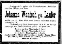 Johanna <I>Laufer</I> Wantoch