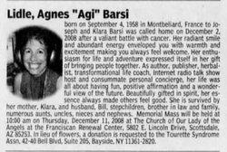 """Agnes """"Agi"""" <I>Barsi</I> Lidle"""