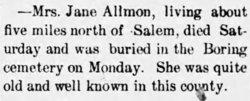 Mrs Jane Allmon