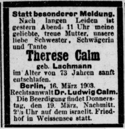 Therese <I>Lachmann</I> Calm