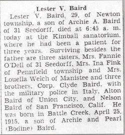 Lester V Baird
