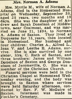 """Mary Myrtle """"Myrtle"""" <I>Donelson</I> Adams"""