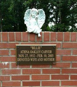"""Mrs Athna V """"Billie"""" <I>Oakley</I> Carver"""