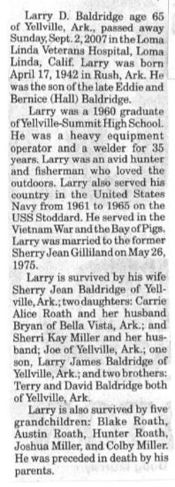Larry D Baldridge