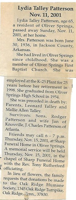Lydia Talley Patterson (1936-2001) - Find A Grave Memorial