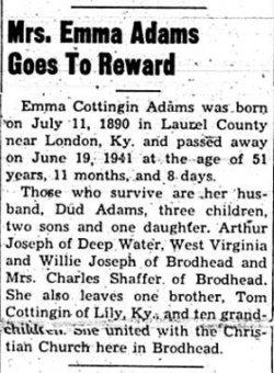 Emma <I>Cottingin</I> Adams