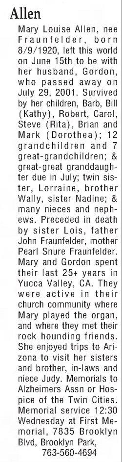 Mary Louise <I>Fraunfelder</I> Allen