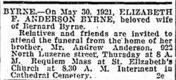 Elizabeth F <I>Anderson</I> Byrne