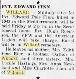 """PVT Edward Dale """"Dale"""" Finn"""
