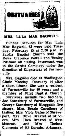 Lula Mae <I>Stansbury</I> Bagwell