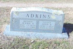 """Nancy Jane """"Jennie"""" <I>Castleberry</I> Adkins"""