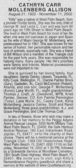 "Cathryn Mollenberg ""Kitty"" <I>Carr</I> Allison"