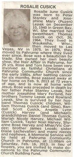 "Rosalie Jone ""Rose"" <I>Lepak</I> Cusick"