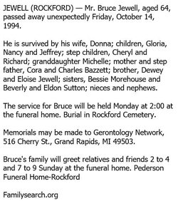 Bruce B Jewell 1930 1994 Find A Grave Memorial