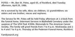 Benjamin Potes 1921 1986 Find A Grave Memorial