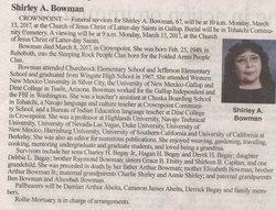 Shirley A Bowman