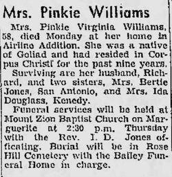 Pinkie Virginia <I>Moore</I> Williams