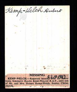 Sergeant ( Air Gnr. ) Ralph R Kemp-Welch