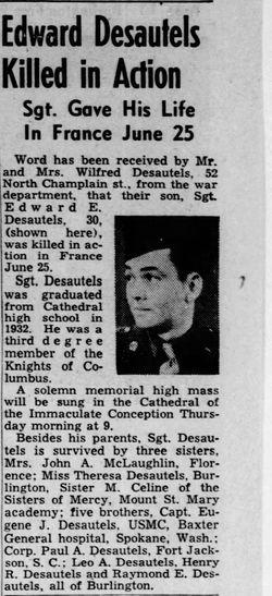 Sgt Edward E Desautels