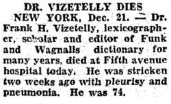 Dr Frank Horace Vizetelly