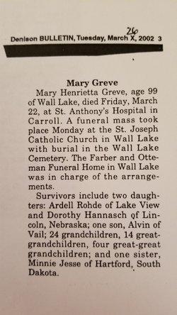 Mary H. <I>Wingert</I> Greve