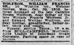 William Francis Wolfrom, Sr