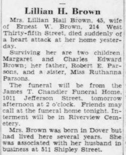 Lillian Hall <I>Parsons</I> Brown
