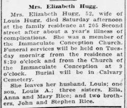 Elizabeth <I>Rice</I> Hugg