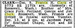 "Francis Henry ""Frank"" Clark"