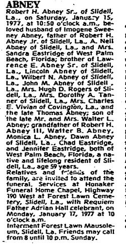 """Robert Henry """"Bobby"""" Abney Sr."""