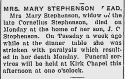 Mary <I>Hulse</I> Stephenson