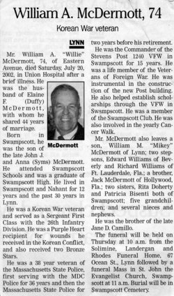 """William Arthur """"Willie"""" McDermott (1928-2002) - Find A Grave"""