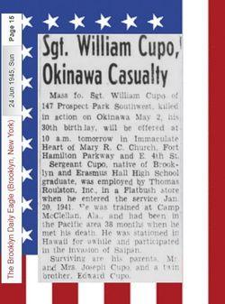 Sgt William J Cupo