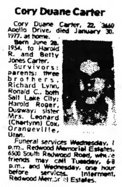 Cory Duane Carter (1954-1977) - Find A Grave Memorial