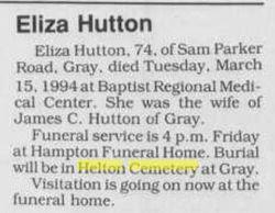 Eliza Hutton (Unknown-1994) - Find A Grave Memorial