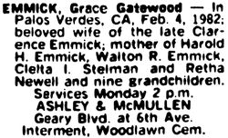 Grace Gatewood <I>Winkler</I> Emmick