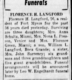 Florence Virginia <I>Hunter</I> Langford