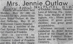Jennie <I>Baker</I> Outlaw